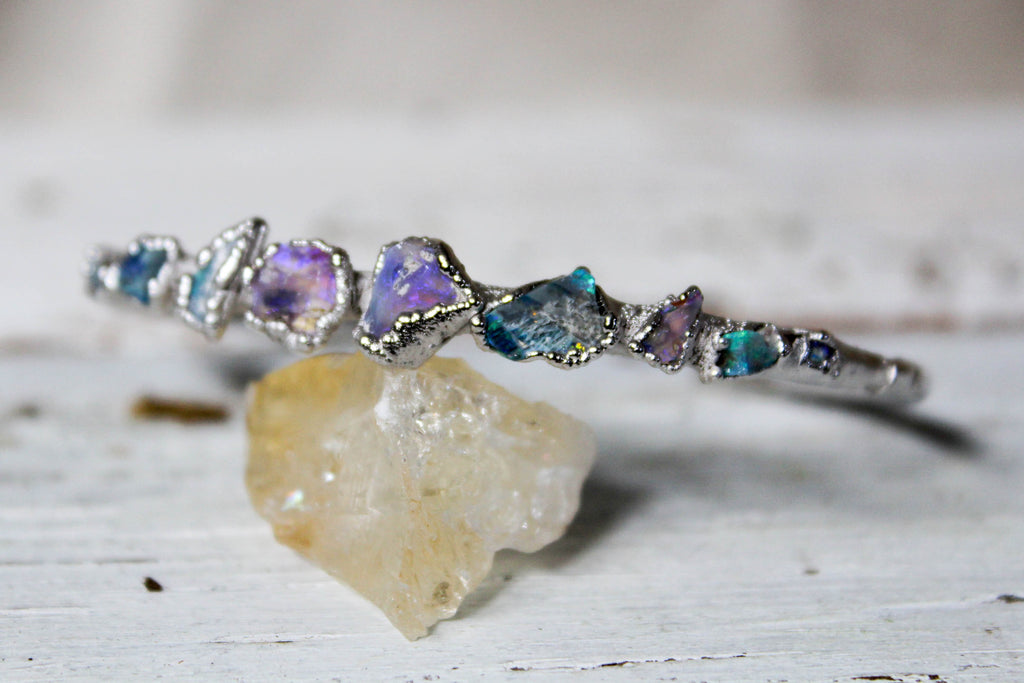 raw black australian opal silver bangle bracelet by Fox & Stone Bohemian Crystals