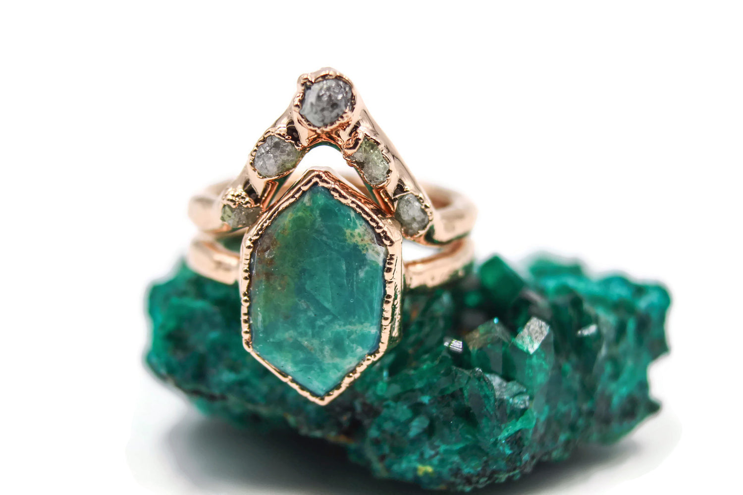 Solid 14k Gold Turquoise & Raw Diamond Wedding Set-The Fox And Stone