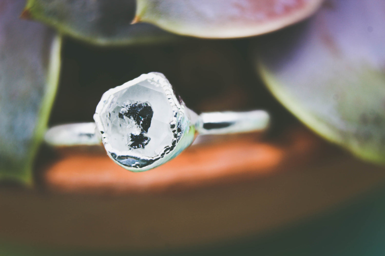 Dueling Diamonds - Herkimer Diamond & Raw Diamond Ring Set