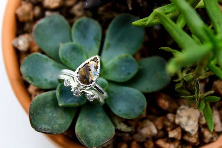 RESERVED LISTING - Boulder Opal & Raw Diamond Wedding Set