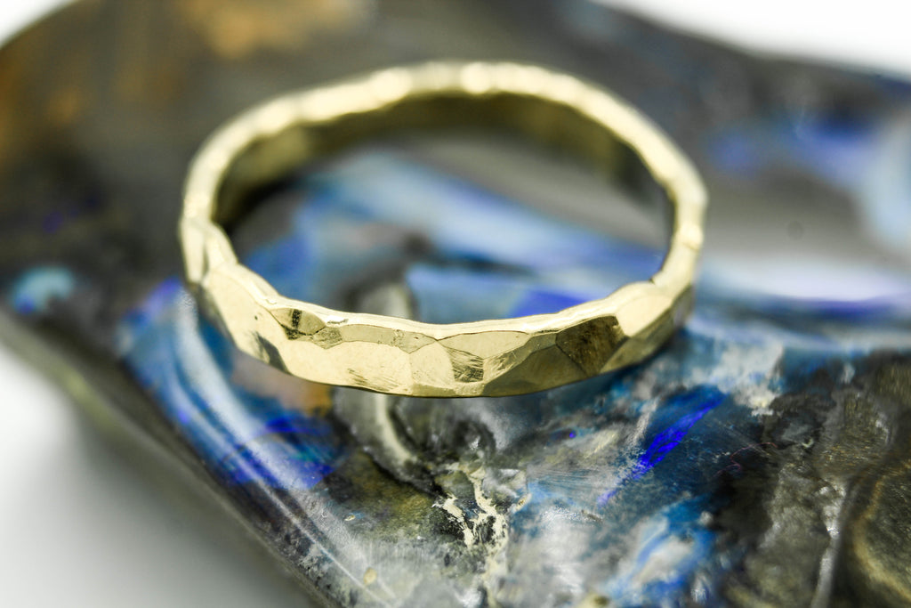 14k yellow gold rustic wedding band - hammered ring by the fox and stone