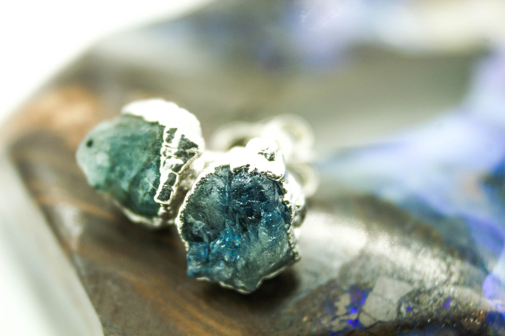 Silver Electroformed Raw Gemstone Earrings
