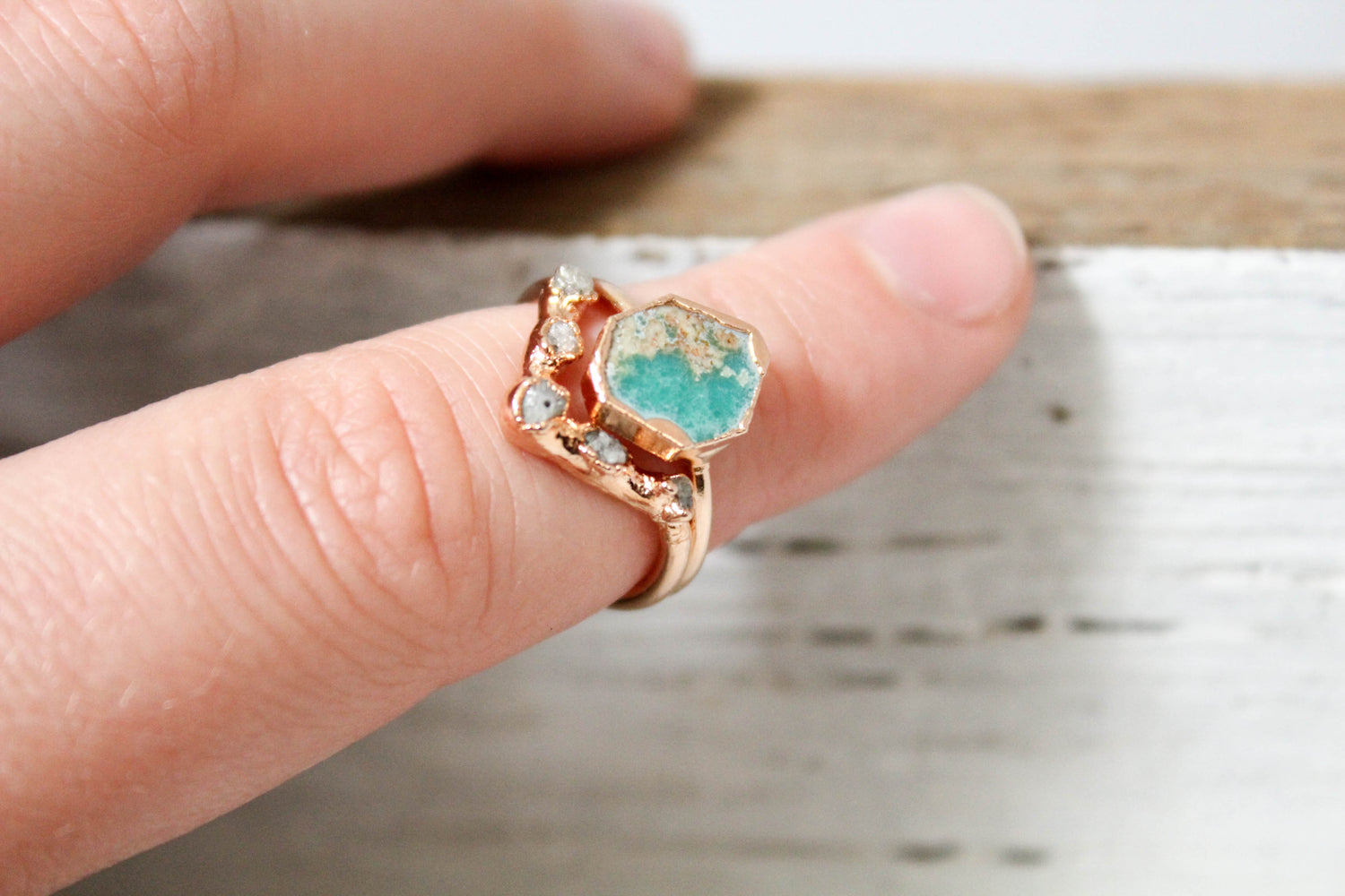 turquoise and ethical raw diamond engagement ring set by fox and stone raw gemstone engagement ring set