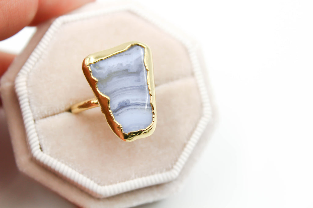 Blue Lace Agate Statement Ring-The Fox And Stone