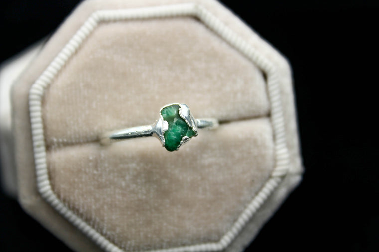 Raw Brazilian Emerald Engagement Ring in Silver