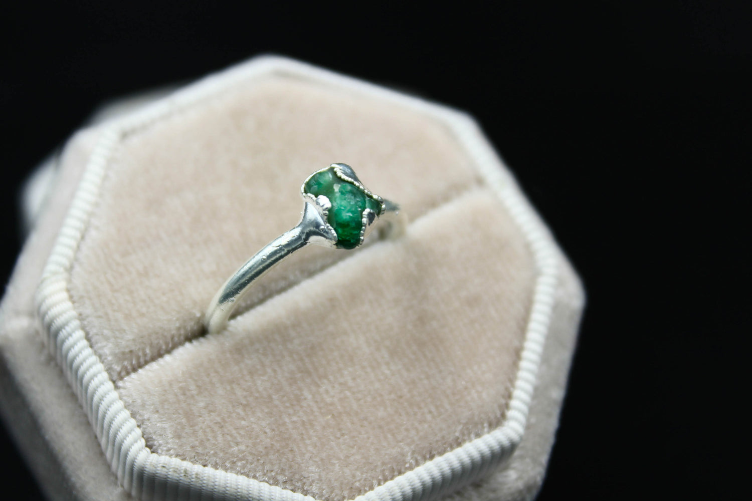 emerald raw gemstone engagement ring diamond alternative the fox and stone