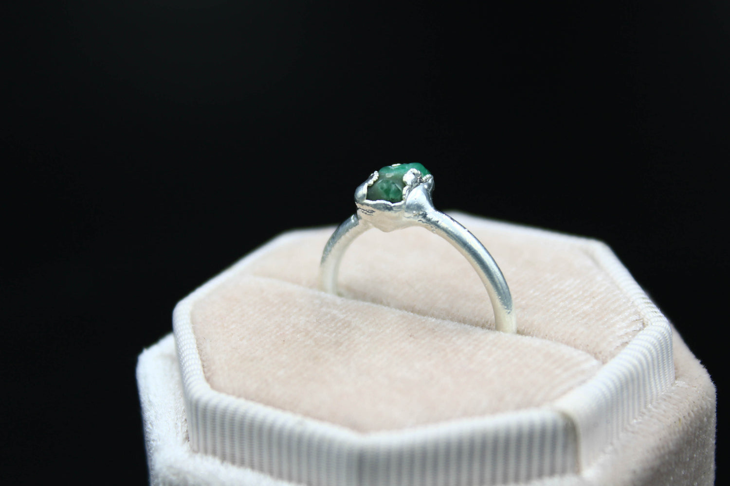Raw Brazilian Emerald Engagement Ring