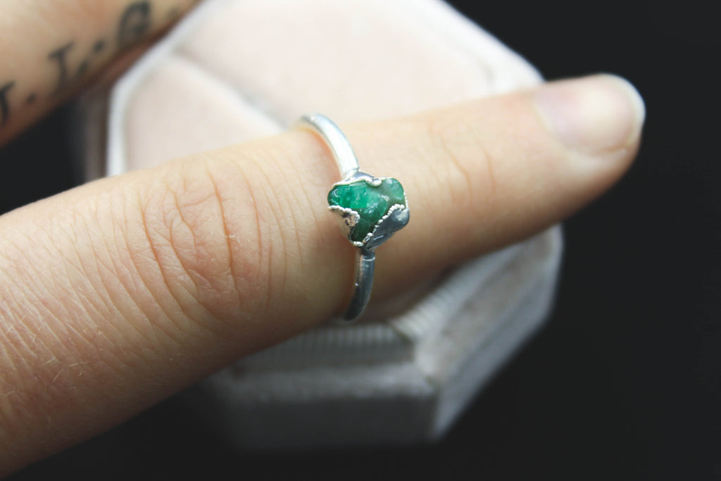 raw emerald alternative engagement ring bohemian jewelry by the fox and stone