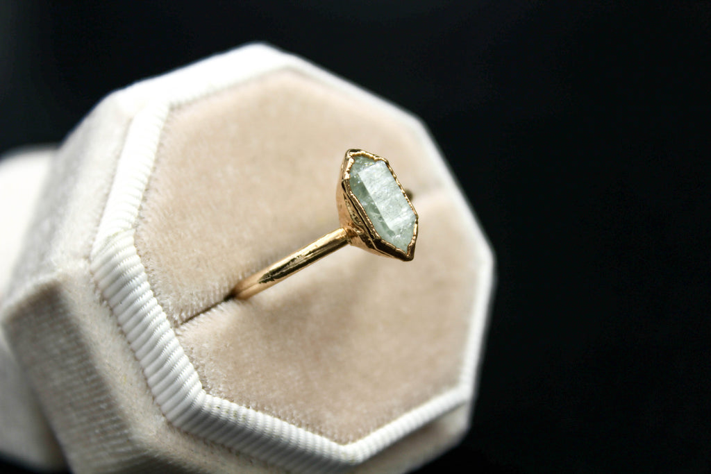 Rose Gold Herkimer Diamond Engagement Ring II-The Fox And Stone