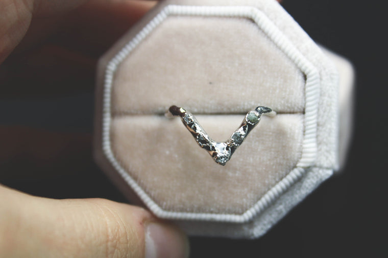 Raw Diamond Chevron Ring IV in Silver