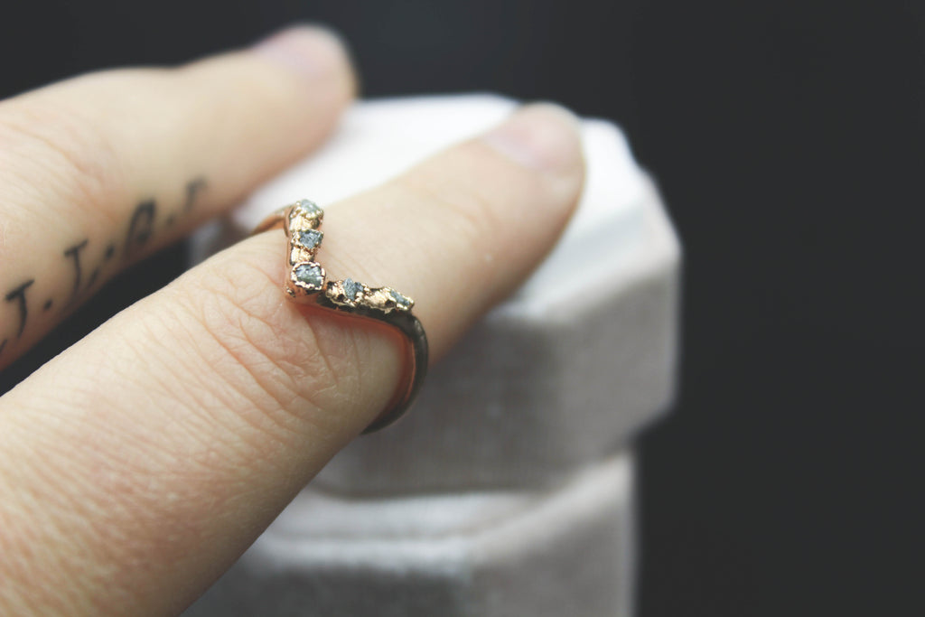 Raw Diamond Chevron Ring in Rose Gold II
