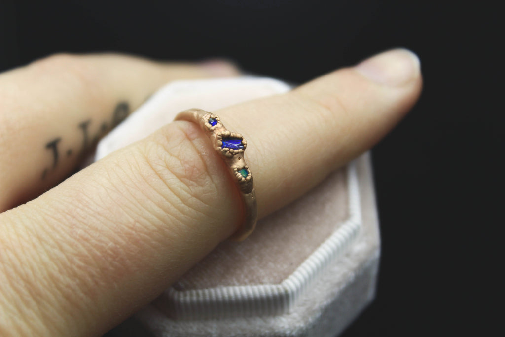 three stone opal engagement ring foxandstone luxury alternative wedding