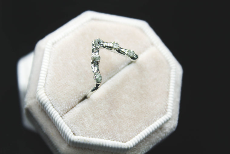 Raw Diamond Chevron Ring in Silver