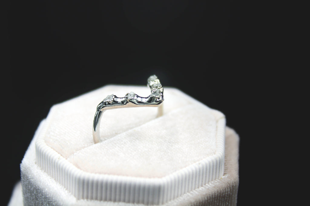 raw diamond engagement ring wedding band the fox and stone jewelry