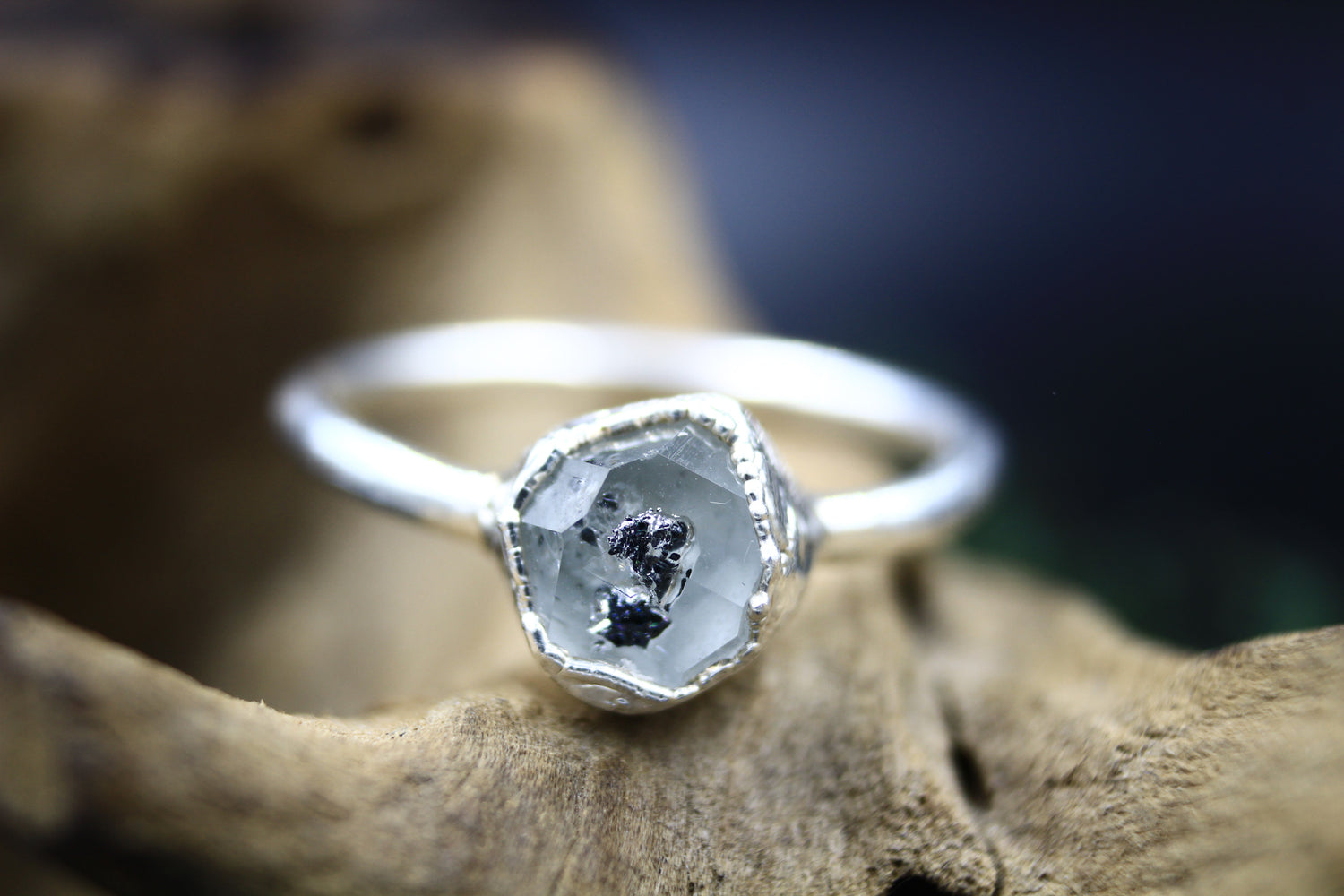 Inclusive Herkimer Diamond Ring in Bare Fine Silver