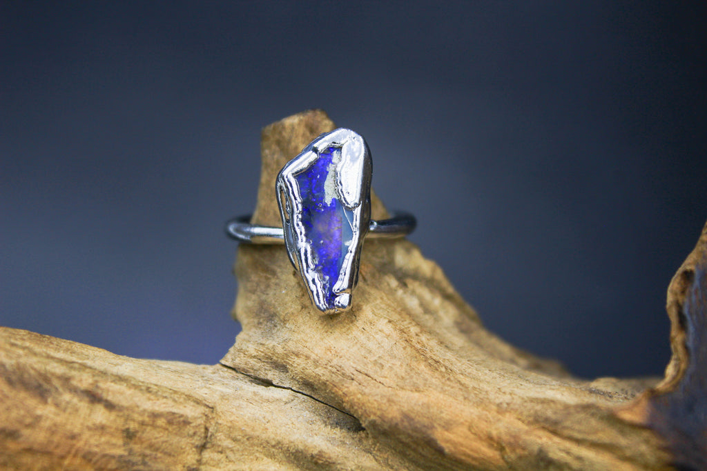 Large Chunky Blue Australian Opal Ring in Rhodium