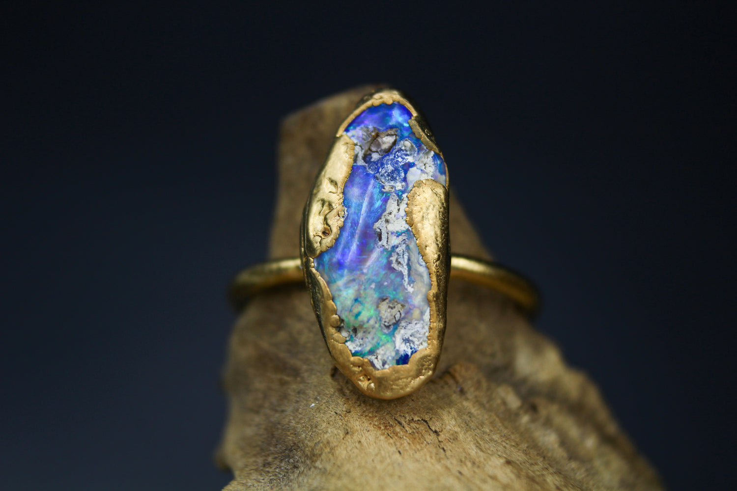 Large Opal Ring in Yellow Gold