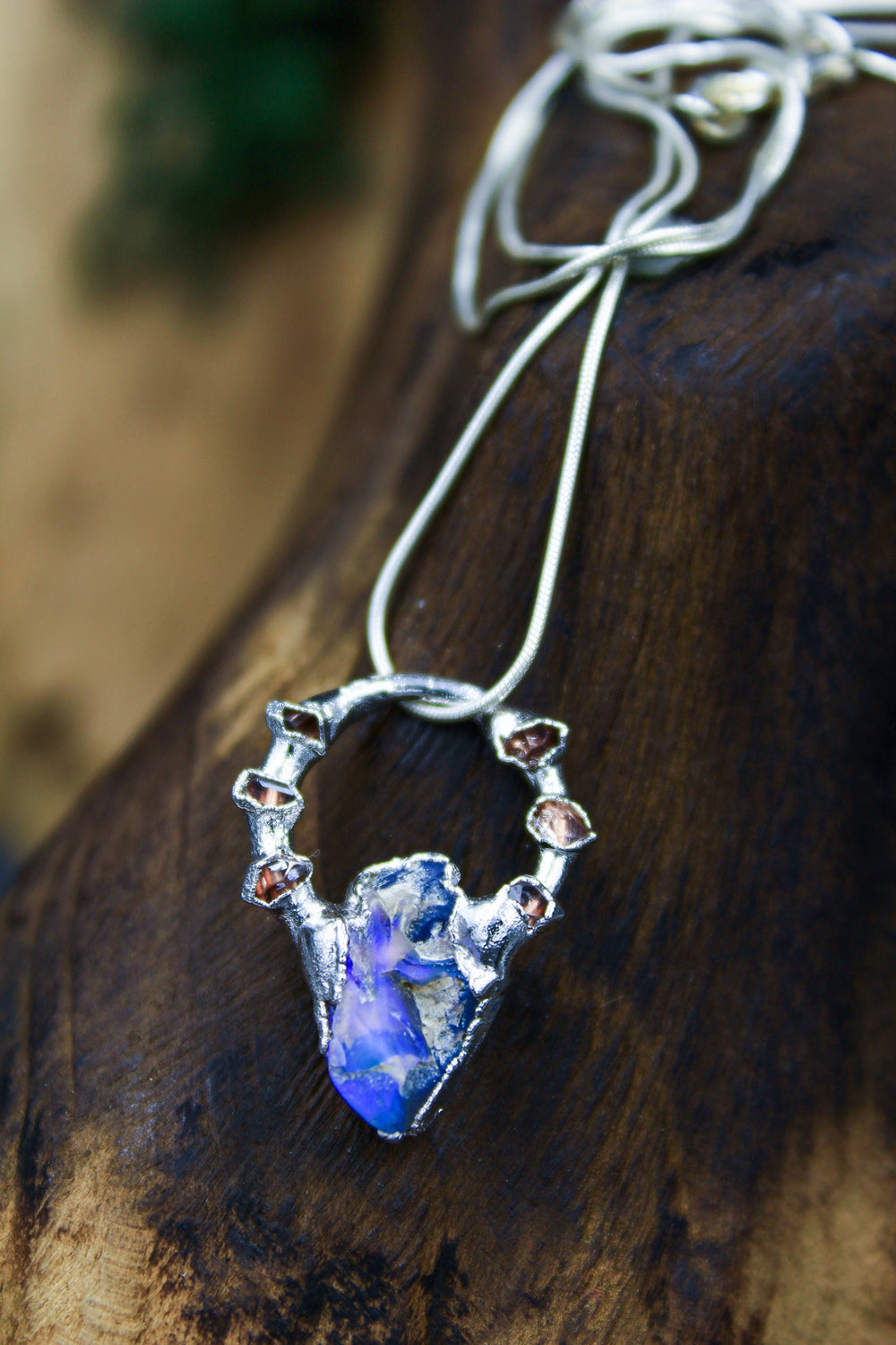 Opal Necklace with Herkimer Halo in Rhodium I