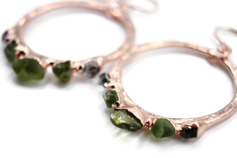 Peridot Rose Gold Hoop Earrings