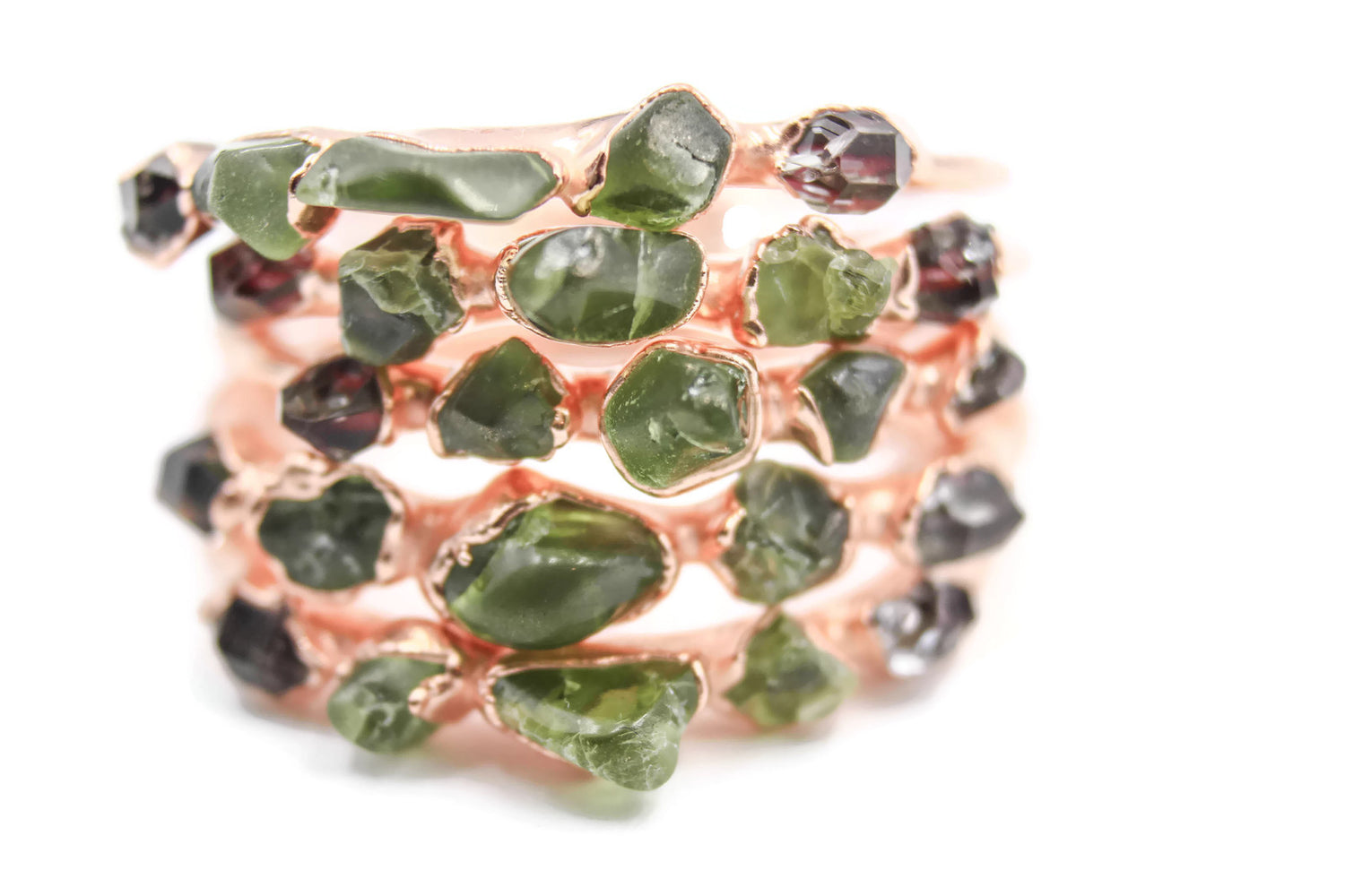 Peridot Rose Gold Hoop Earrings-The Fox And Stone