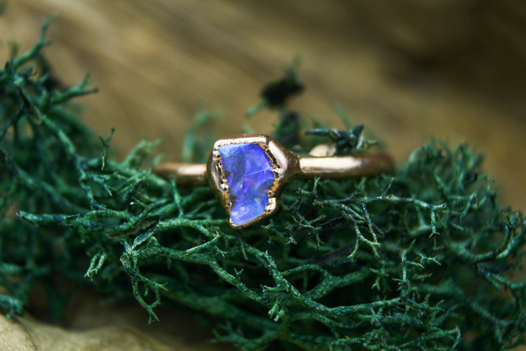 Small Purple Opal Stacking Ring in Yellow Gold