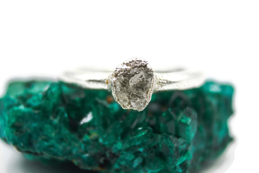 raw diamond engagement ring with gemstones by fox & stone bohemian crystals