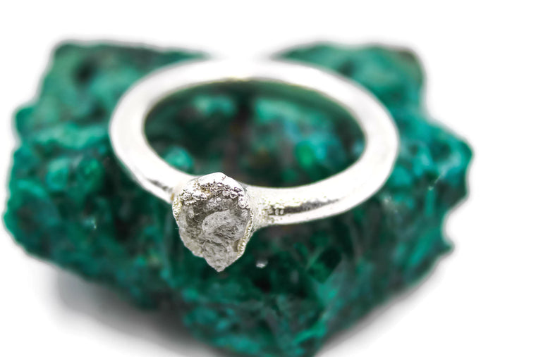 Raw Rough Diamond Engagement Ring in Silver