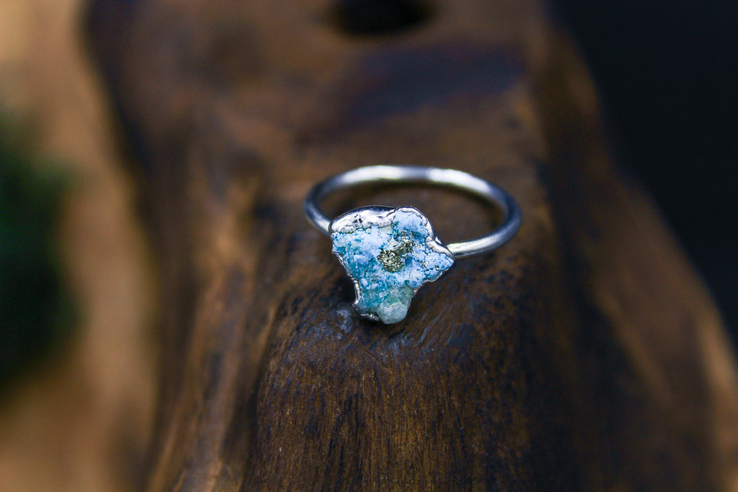 Raw Natural Turquoise Ring in Rhodium 2