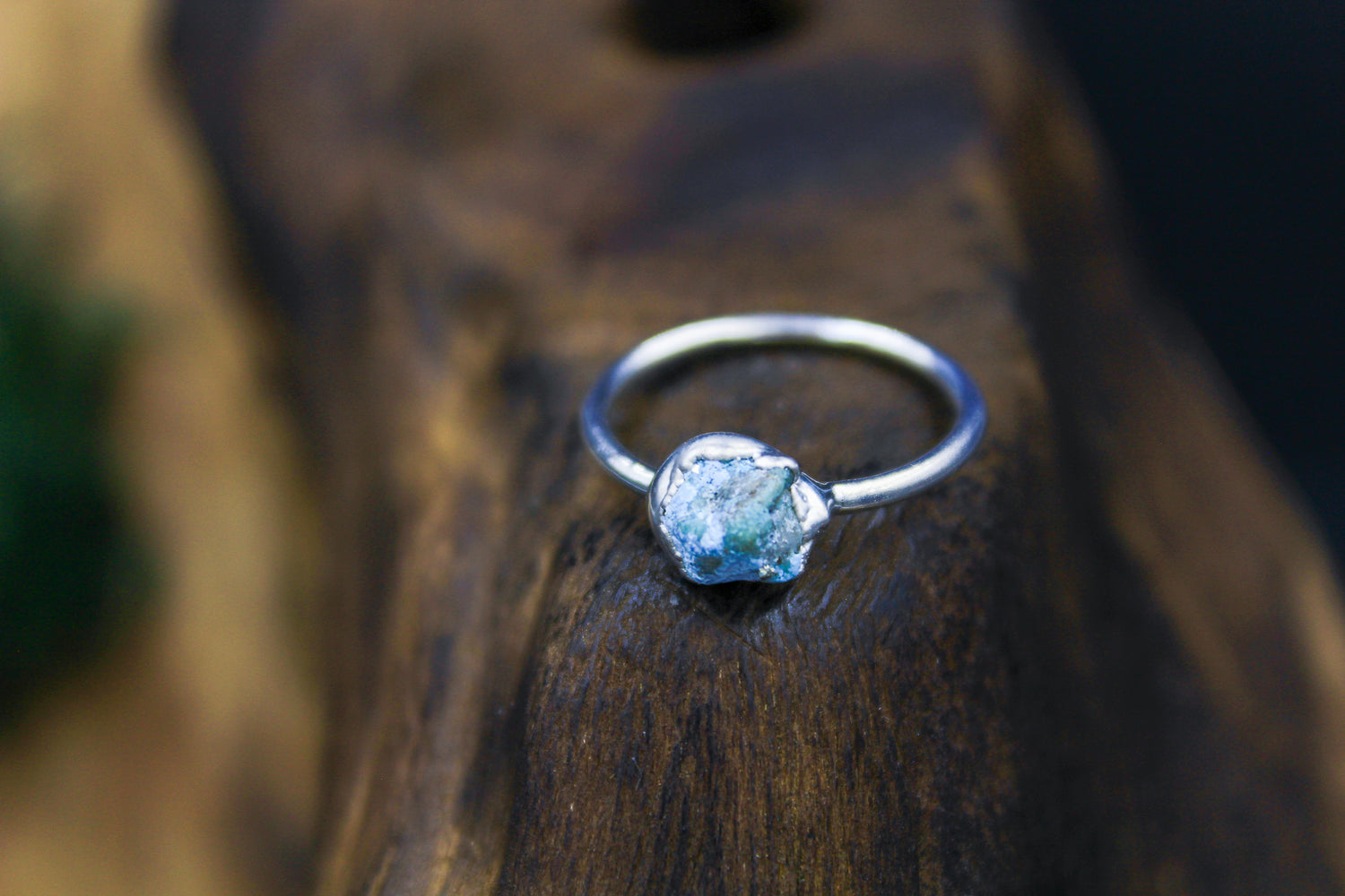 Raw Natural Turquoise Ring in Rhodium 1