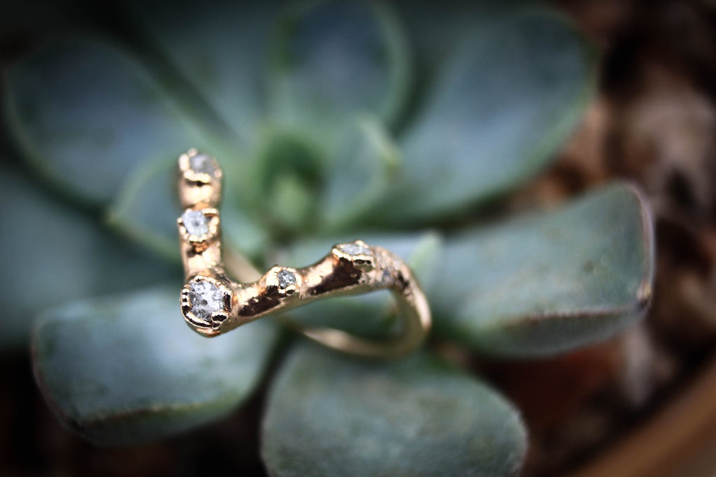Ethical Raw Diamond Chevron Ring-The Fox And Stone