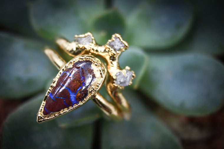 Boulder Opal & Raw Diamond Wedding Set II