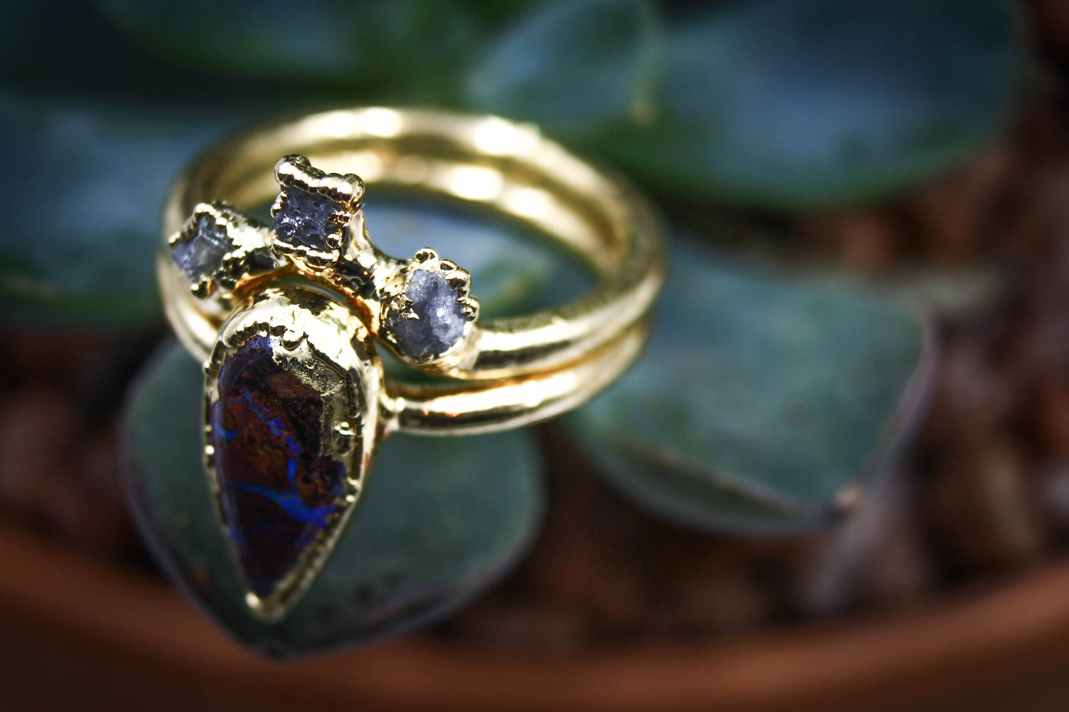 Raw Opal Engagement Ring Raw Diamond Alternative Wedding Set Fox and Stone