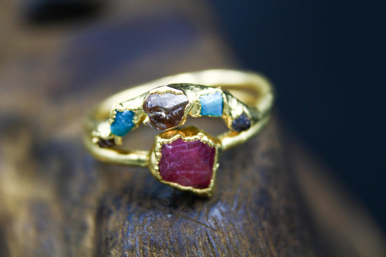 Multistone Ring Set with Garnet, Turquoise & Herkimer Diamond in Yellow Gold