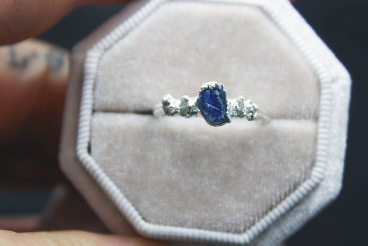 Yale Blue Sapphire Sea Ring in Silver