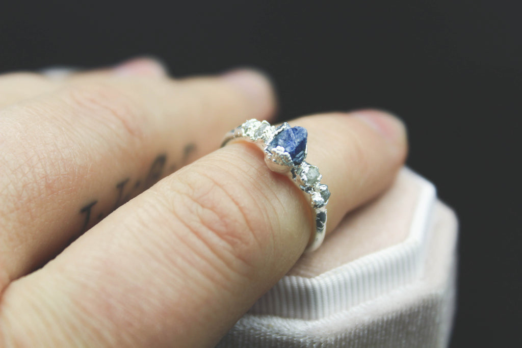 raw blue sapphire rough gemstone alternative engagement ring the fox and stone jewelry