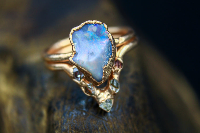 Australian Opal & Herkimer Diamond Ring Set in Rose Gold