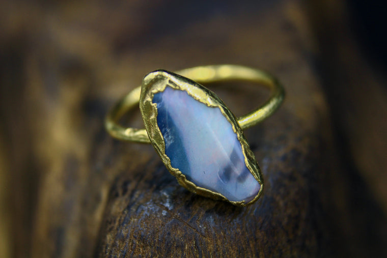 Large Australian Opal Ring in Yellow Gold