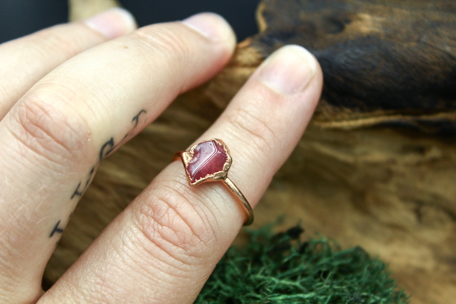 Raspberry Garnet Ring in Rose Gold