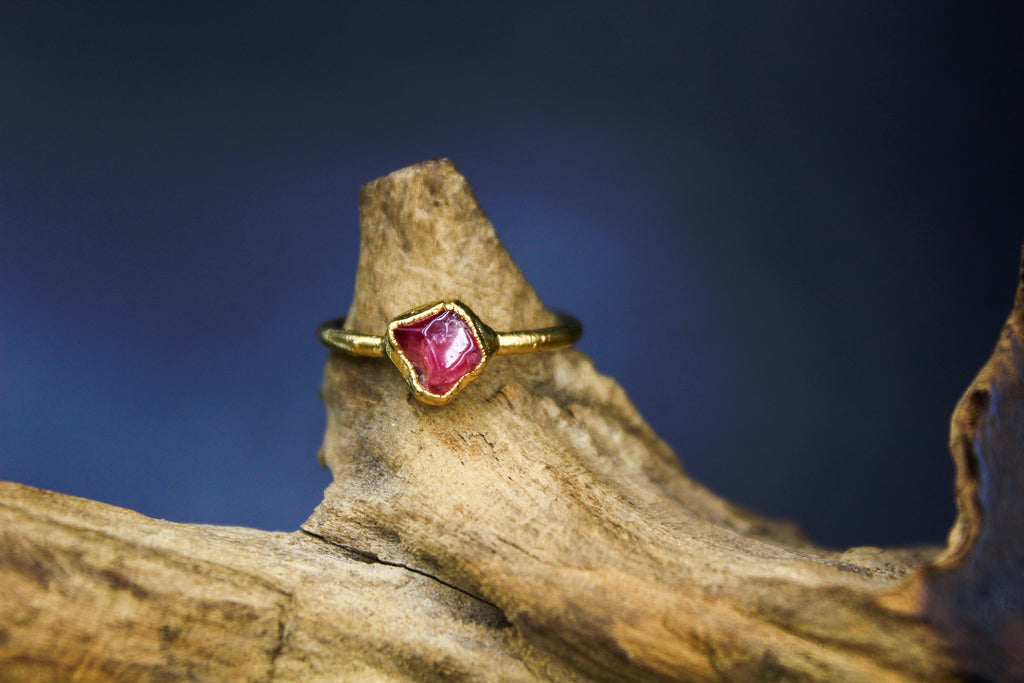 Raspberry Garnet Ring in Yellow Gold