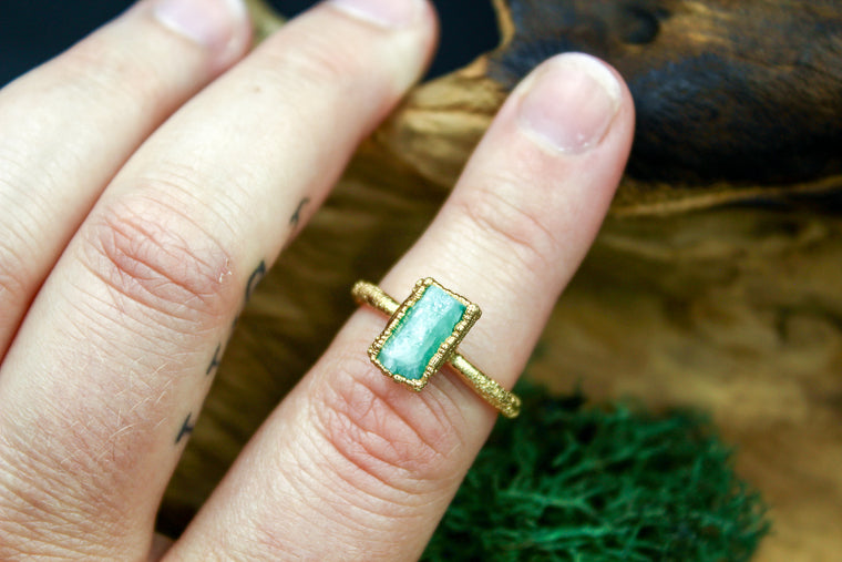 Chunky Emerald Ring in Yellow Gold