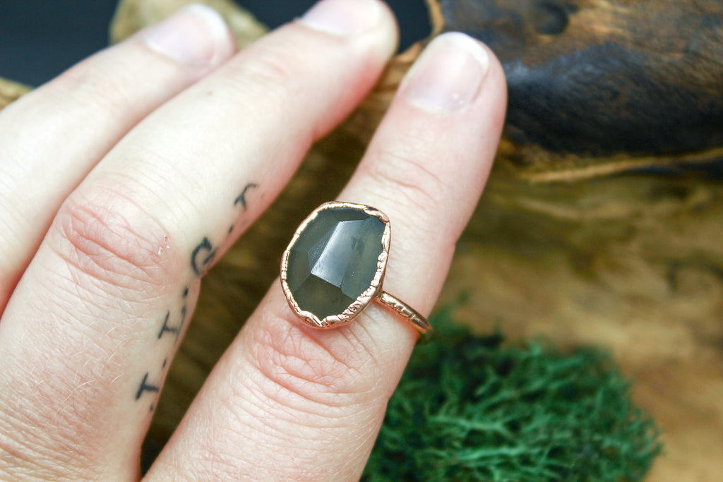 Faceted Obsidian Ring in Rose Gold