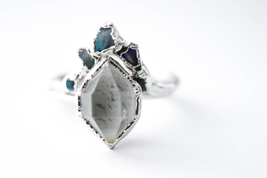 Herkimer Diamond Amp Raw Australian Opal Chip Wedding Ring