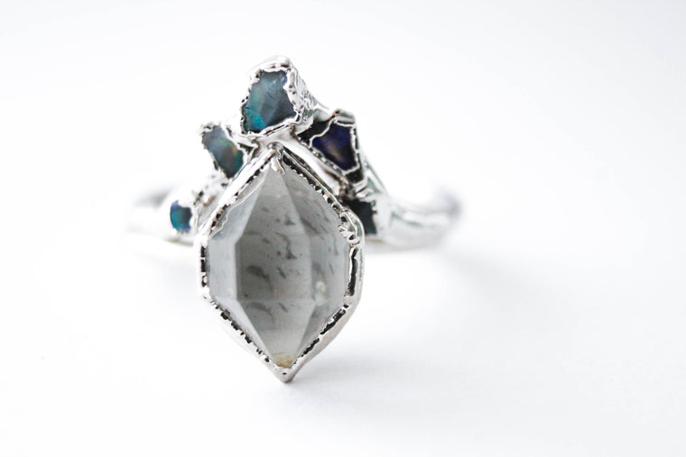 Herkimer Diamond & Raw Australian Opal Chip Wedding Ring Set