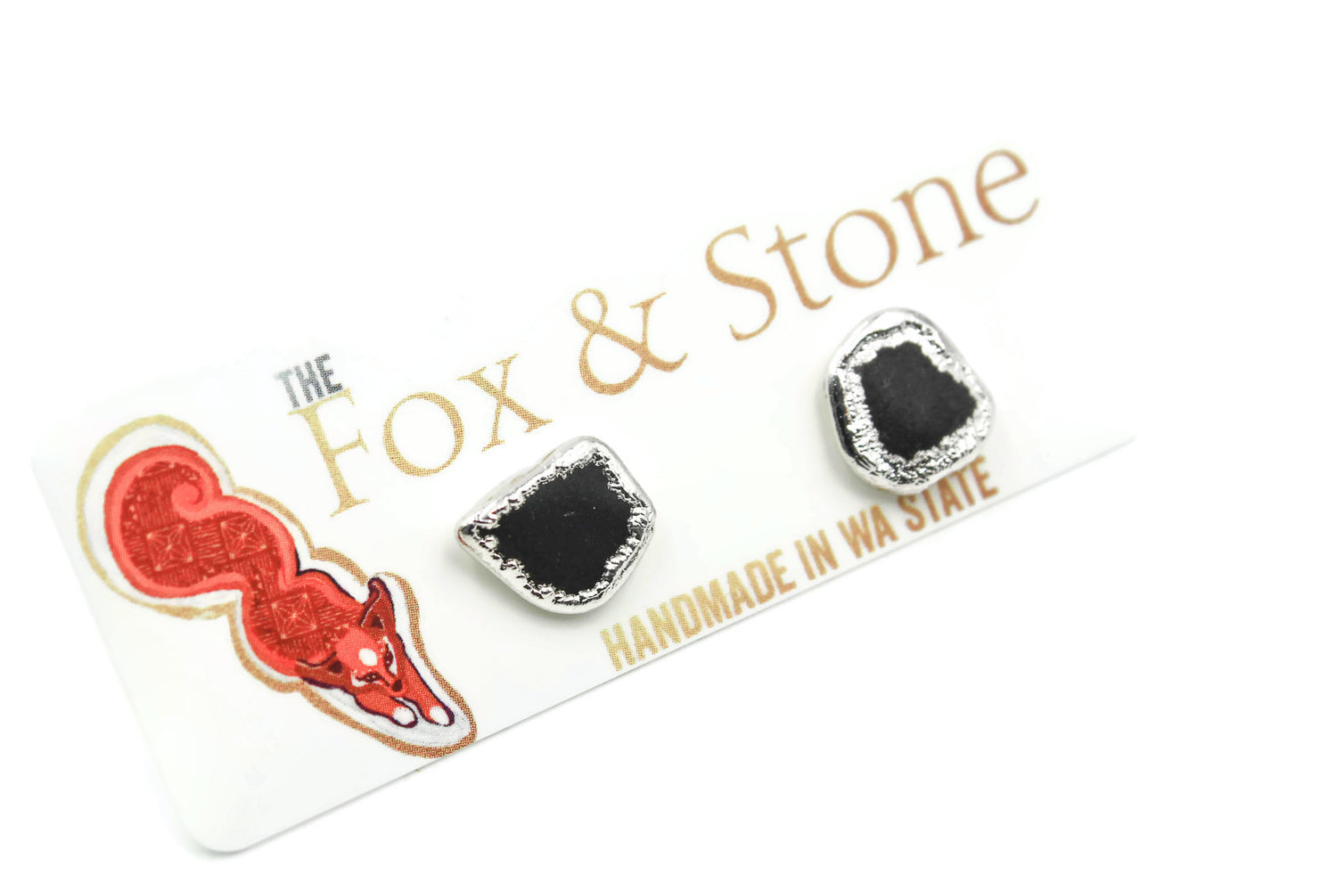 Tumbled Black Tourmaline Earrings, Electroformed, Fox and Stone