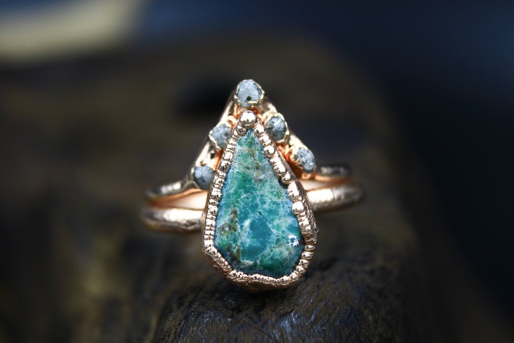 Turquoise and Diamond Set in Rose Gold
