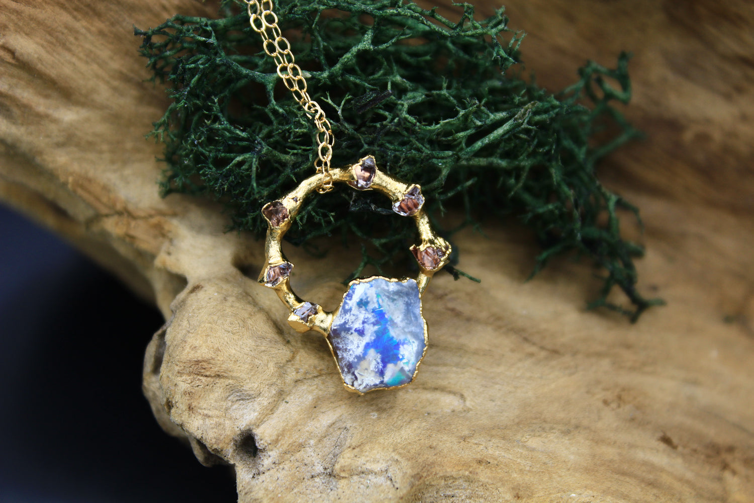 Opal Necklace with Herkimer Halo in Yellow Gold
