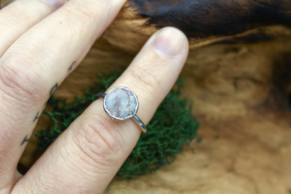 Amazonite Ring in Rhodium
