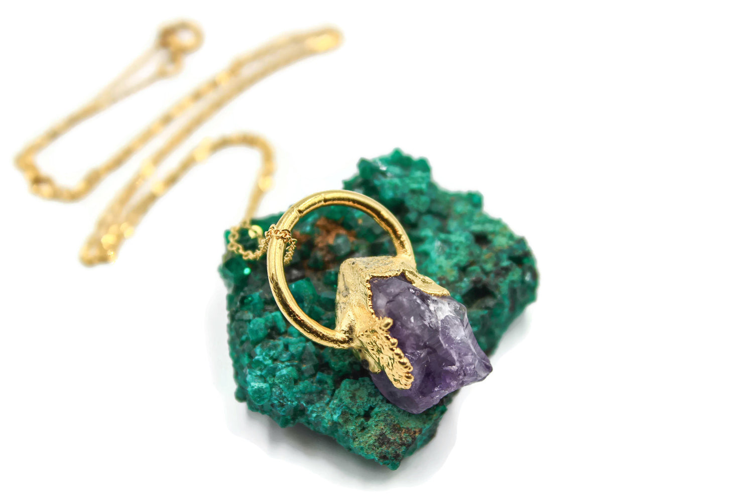 Raw Amethyst, Yellow Gold, Electroformed, Necklace