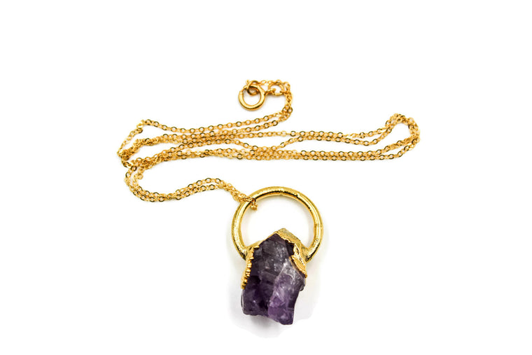Natural Raw Amethyst Pendant Necklace II