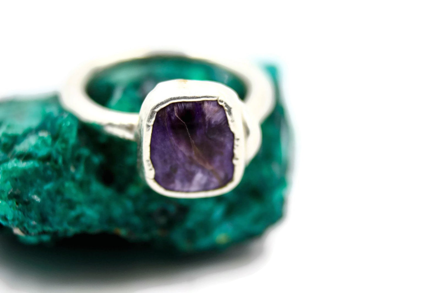 Charoite raw gemstone engagement ring the fox and stone jewelry